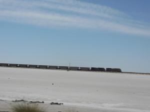 Train crossing the salt desert