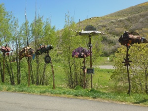 Sculpture along trail