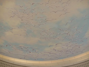 On dome, according to legend, seagulls helped save Mormon pioneers first harvest from insects