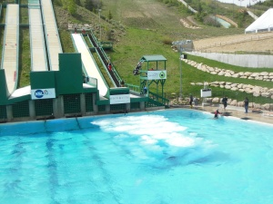 Aerial ski practice area with pool