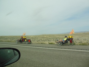 recumbent bikers on Interstate