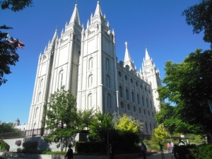 Salt Lake Temple.  There were at least four weddings going on tonight