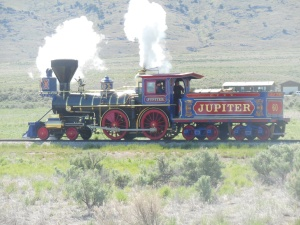 Golden Spike. Yes locomotives were colorful at that time.