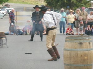 Staged cowboy show in Cody