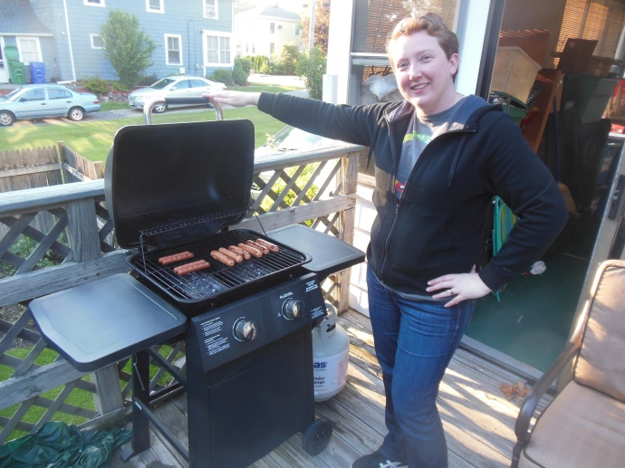 Deb safely at the grill