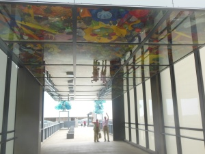 Walkway with glass sculpture