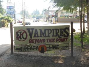 Twilight sign at restaurant