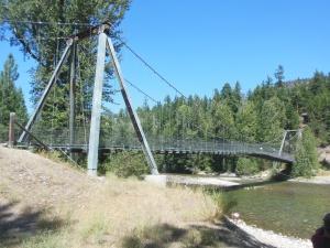 Suspension bridge on trail