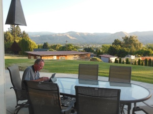 Working hard on this  post, Cascade Mtns and Columbia River in background