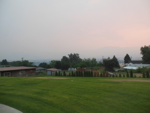 View from patio Monday night with increased smoke from fire