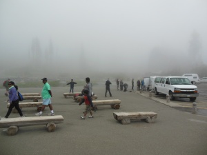 Fog at Mt. Ranier visitor center on Friday
