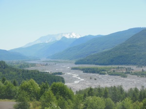 First shot of Mt. St. Helens, mudflow path still visible in front