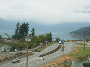 Part of Sea to Sky road, Howe Sound as seen from  Britannia mine