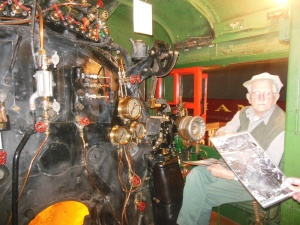 Engineer and his locomotive, Revelstoke train museum