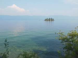Flathead Lake with one of its islands