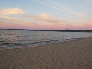 Grand Traverse Bay sunset across hotel