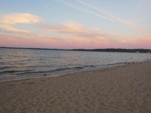 Grand Traverse Bay sunset across hotel