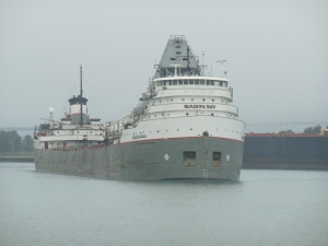 Freighter exiting the Soo Locks