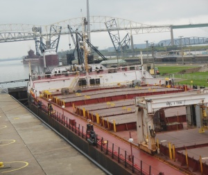 Freighter in lock
