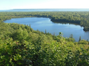 View from Mission Hill overlook towards Whitefish Bay on Lake Superior