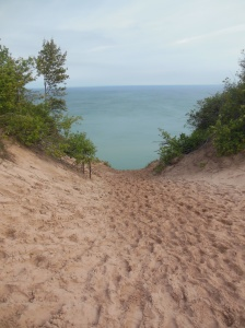 Looking down the Log Flume site in  Pictured Rocks National Lakeshore
