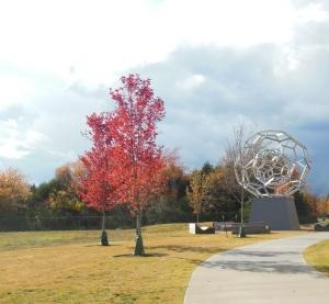 """buckeyball"" sculpture at Crystal Bridges"