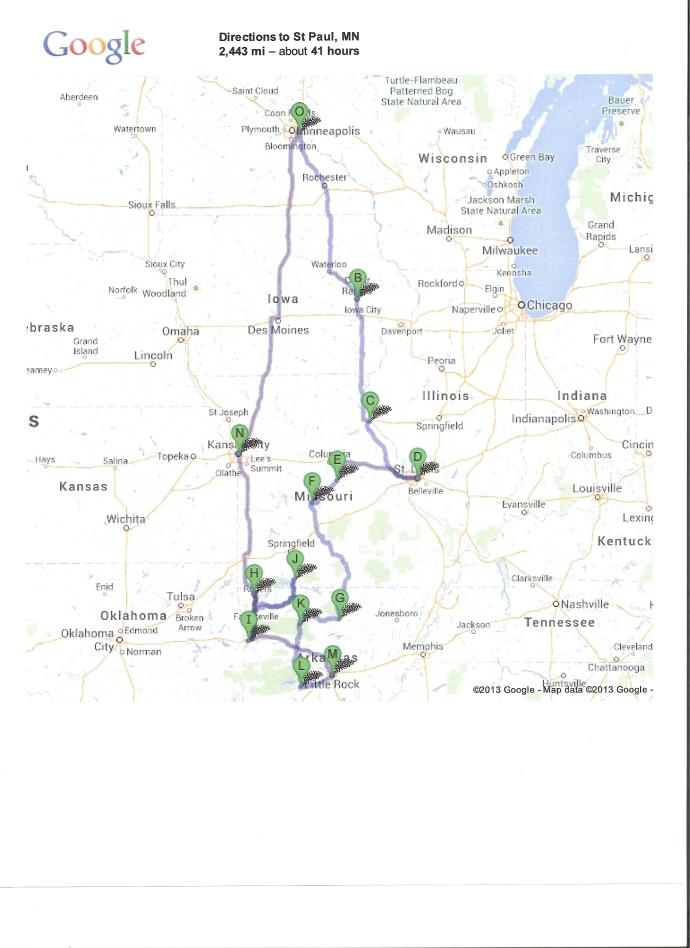 The Ozarks Trip map