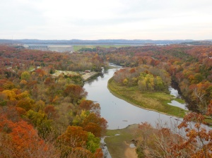 White river valley downstream from dam