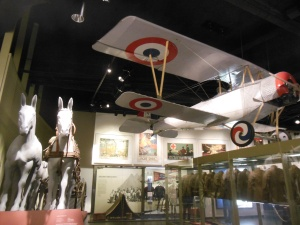 Exhibit with airplane and horses