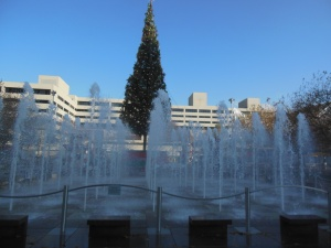 Christmas tree and fountain at Crown Center
