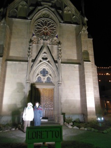 Chris and jude outside Loretto Chapel