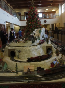 Model train display downtown Santa Fe.