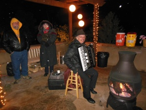 Santa Fe Botanical Garden accordion player with Bernie and Tony