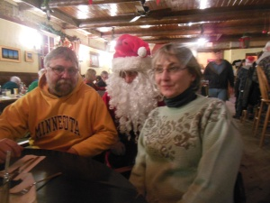 Tony, Santa, Bernie at the Mine Shaft Tavern