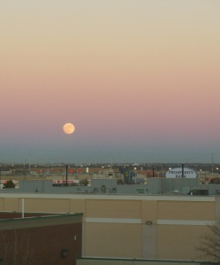 Moon rise over parking lot Oklahoma City