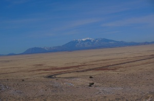 The San Francisco Peaks at Flagstaff as seen from Meteor Crater