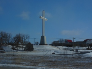A cross along the highway in Oklahoma