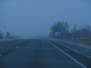 Blowing snow and hazy near Faribault MN
