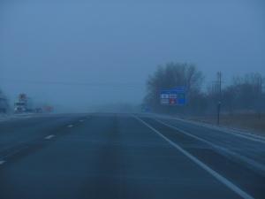 Blowing snow and hazy near Faribault MN