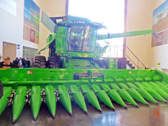John Deere combine and corn header