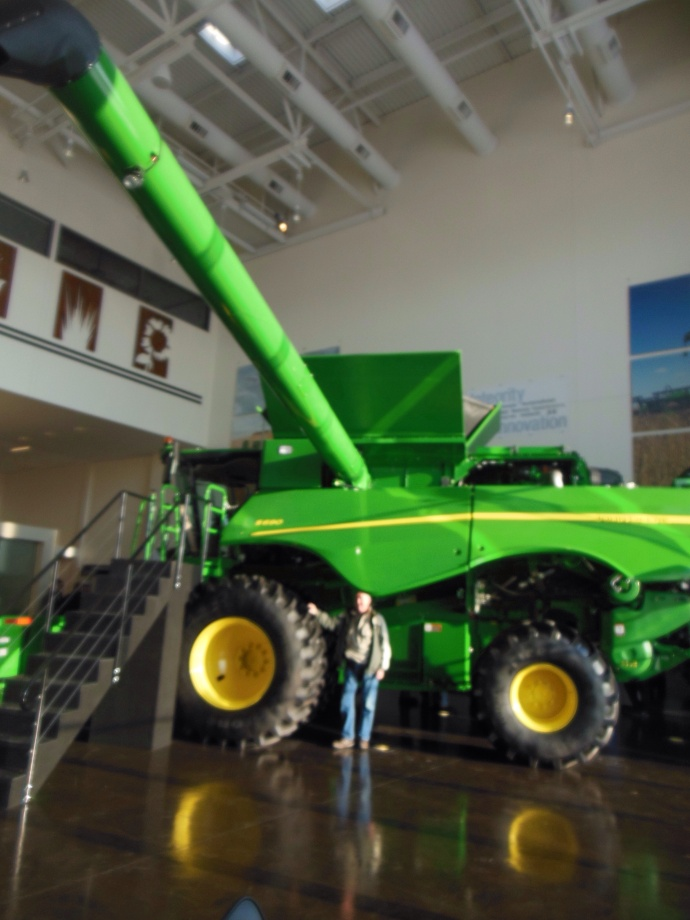 Side view of combine