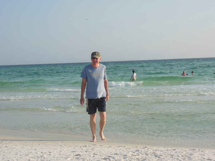 At the white sand beach