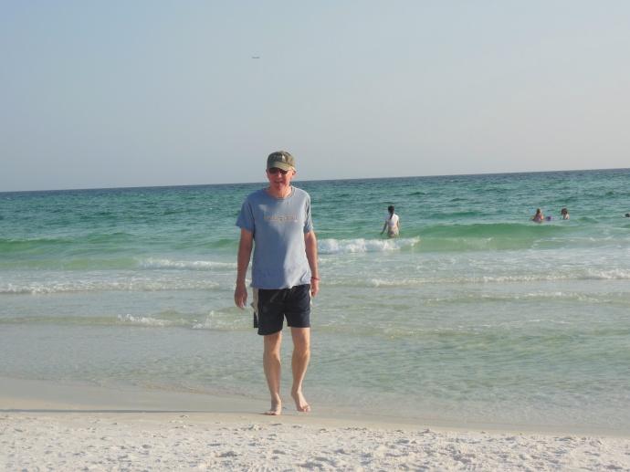 At the white sand beach