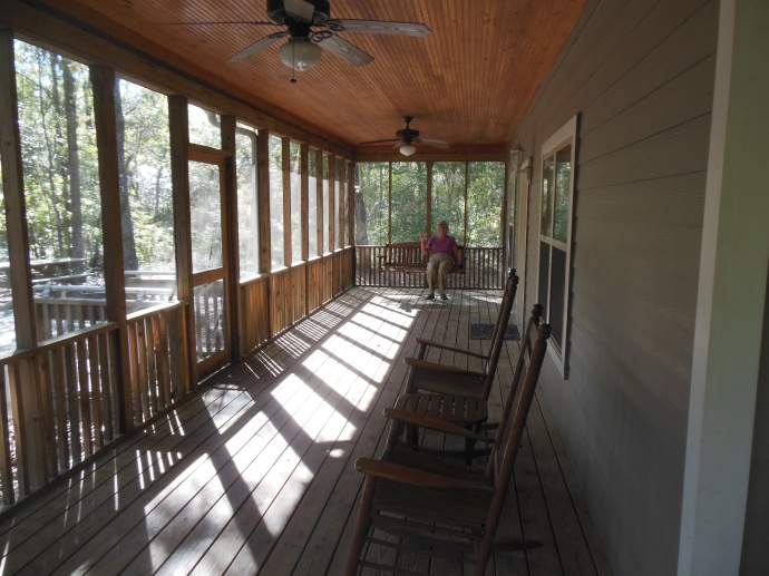 part of the porch at the cabin