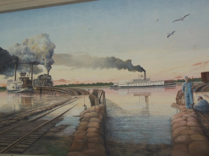 Trains were ferried across the river before  bridges were built across the Mississippi