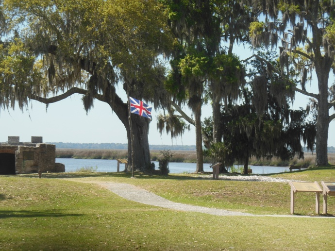 British flag flying at site of Fort Frederica, St Simons Island