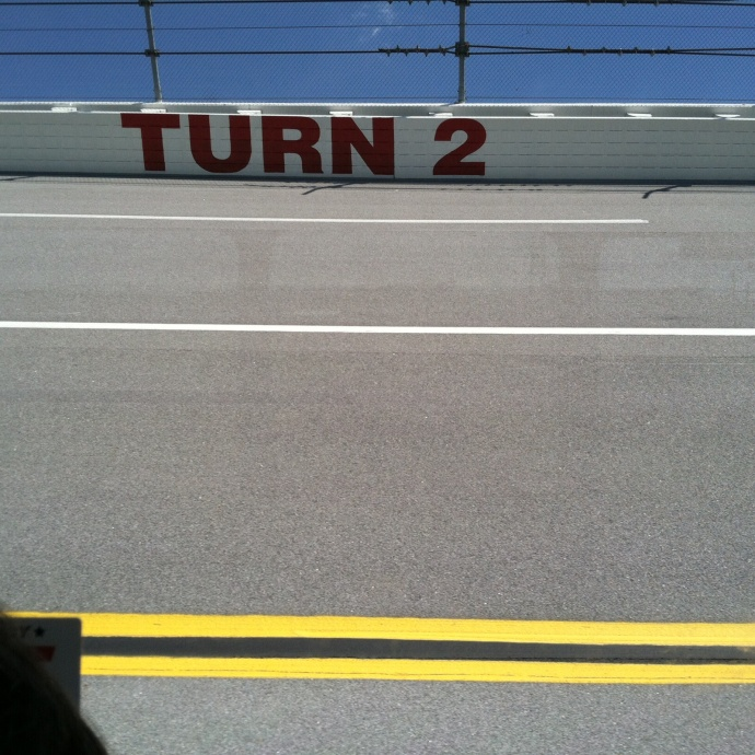 33% grade on turn two at Talladega