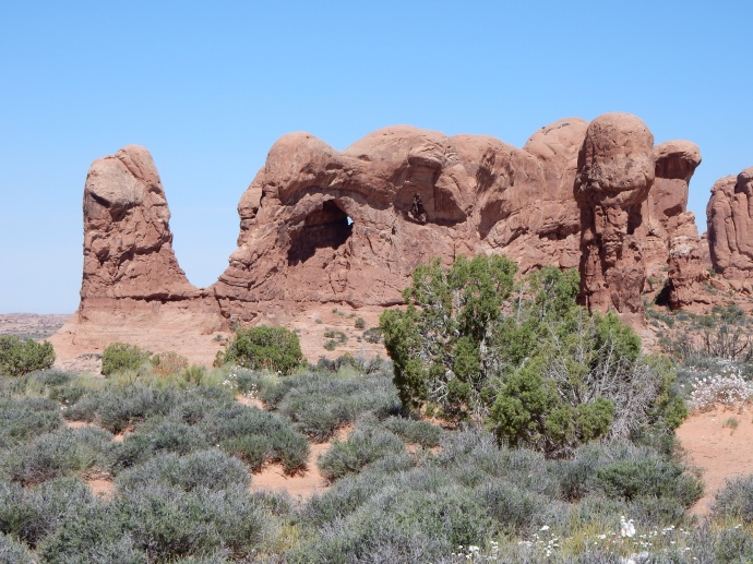 rock formation with small arch