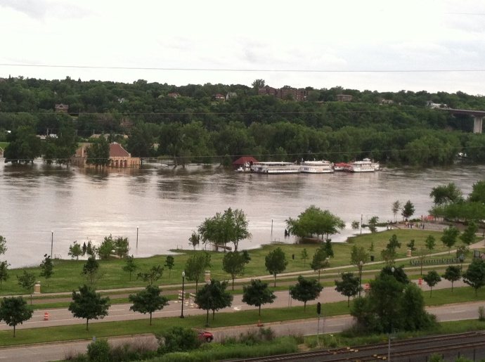 Harriet Island Pavilion under water-two weeks ago Ed was there for a naturalization ceremony