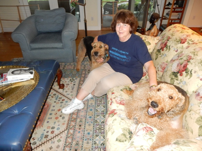 Mary and her two Airedales